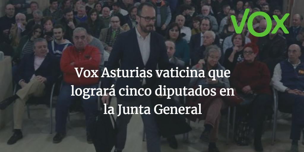 Vox Asturias vaticina que logrará cinco diputados en la Junta General