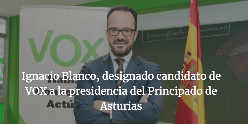 Ignacio Blanco, designado candidato de VOX a la presidencia del Principado de Asturias