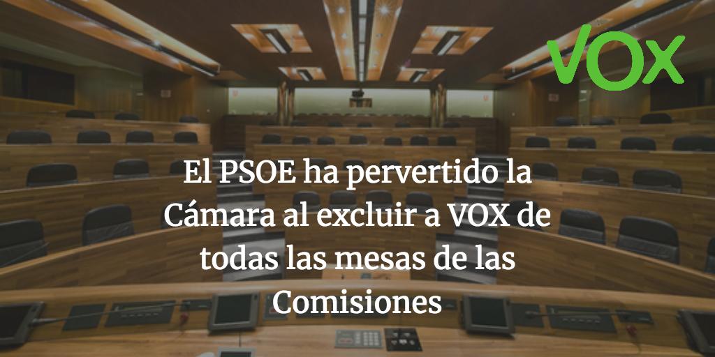 El PSOE ha pervertido la Cámara al excluir a VOX de todas las mesas de las Comisiones
